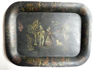 Antique Tole Tray Stencil Figures Dog 18 14 Painted Black With Hanger
