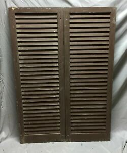 Pair Antique House Window Wood Louvered Shutters 18x51 Shabby Vintage 113 19c