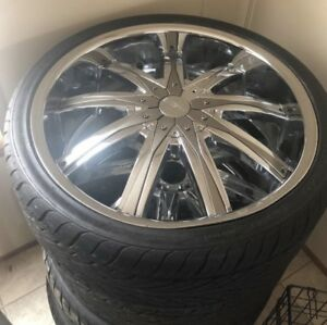 Used 22 Inch Rims And Tires With Color Match Inserts Bp 5x114 3 255 30zr22