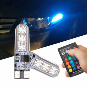 2pcs T10 W5w Rgb Led Bulbs 5050 6smd Remote Controller Flash Strobe Wedge Light