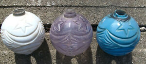 Antique Moon And Stars Lightning Rod Ball Lot Amethyst Purple White Blue