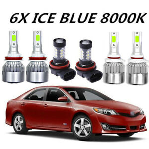 Cob Led Headlight fog Light For Toyota Camry 2007 2014 8000k Ice Blue Bulbs
