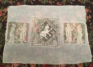 Antique Figural Filet Lace Panel 3 Insets On Sheer Fabric For Embroidery 21 X15