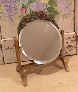 Antique Vintage English Round Beveled Barbola Mirror Border Flowers Swivel Stand
