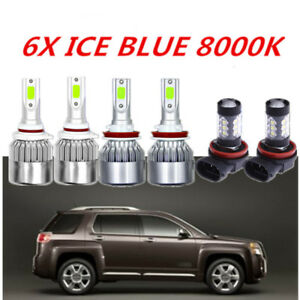 Cob Led Headlight Fog Light For Gmc Terrain 2010 2015 8000k Ice Blue Bulbs 6x