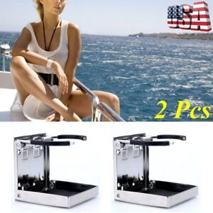 2x Stainless Steel Folding Cup Drink Holder Adjustable Marine Boat Foldable Lu
