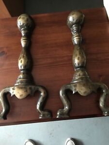 Vintage Cast Iron Fireplace Woodstove Log Dogs Andirons Used As Iron Wall Art