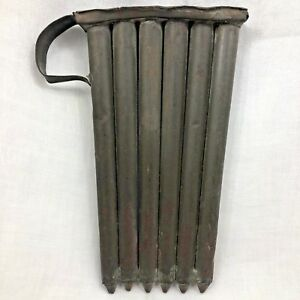 19th Century Six Tube Tin Candle Mold W Side Handle