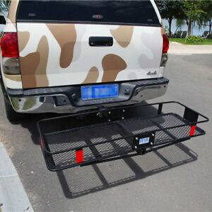 Hitch Mounted Fold Up Cargo Carrier With Large Space Accessories Trailer Hitches