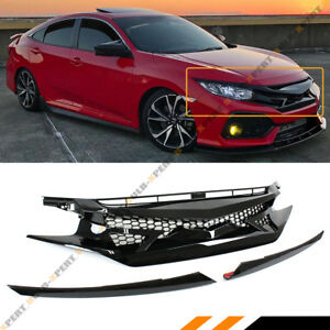 For 2016 2018 Honda Civic 10th Gen Jdm Badge less Black Out Front Hood Grille