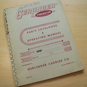 Gerlinger Towmotor 4mh Forklift Service Operator Parts Manual Book Operation