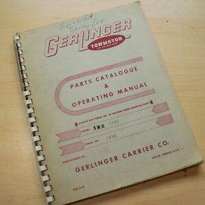 Gerlinger Towmotor Smh Forklift Service Operator Parts Manual Book Operation