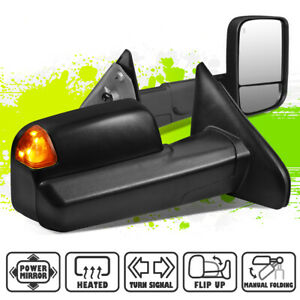 Powered Heated Amber Led Signal Tow Mirrors For Dodge Ram 1500 2500 3500 02 09