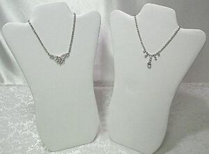 48 Padded Necklace Display Jewelry Pendant Chain Holder Stands 14 White Leather