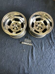 Vintage Pair 15x10 Polished Us Indy Style Mags 5 On 4 1 2 Ford Mopar Dodge