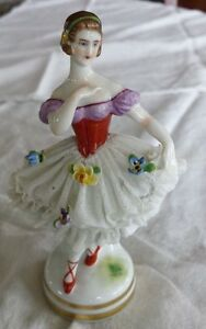 Porcelain Mueller Volkstedt Mv Germany Ballerina Figurine Lace White Red Antique