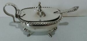 Antique Sterling Silver Footed Covered Salt Cellar And Spoon