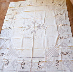Antique Italian Linen Lace Table Cloth Hand Crafted Point De Venise 86 X 70