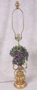 Vintag Italian Purple Flowers Gilt Tole Table Lamp Gold Bow Signed Orig Finial