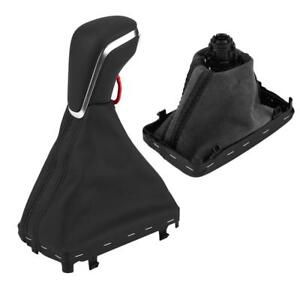 Automatic Leather Black Gear Shift Knob Gaiter Boot Cover For Audi A6 C7 Vw Golf