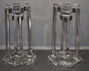 Art Deco Pair Double Handle Pillar Style Clear Glass Candlesticks Beautiful