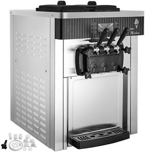 Commercial Soft Ice Cream Machine Stainless Steel Frozen 3 Flavors Automatic
