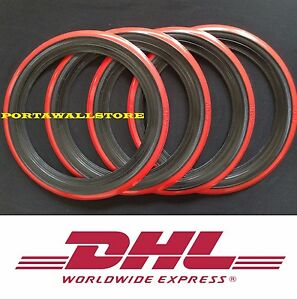 14 Black Red Wall Portawall Tyre Insert Trim Set 4 Pcs Hot Rod Rat Rod 134