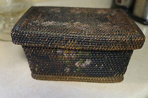Antique Victorian Rattan Wicker Weave Painted Basket Box Lid Sewing