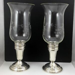 Garden Silversmiths Sterling Silver Candle Holders With Etched Hurricane Glass