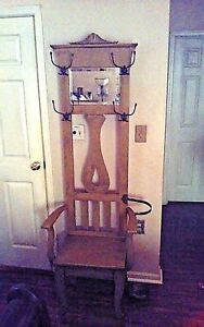 Antique Larkin Quartersawn Oak Arts Crafts Hall Tree Chair Mirror Umbrella Stand
