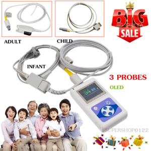 Infant child adult 3 Probes Oled Pulse Oximeter Pulse Oxygen Spo2 Pr Pc Software