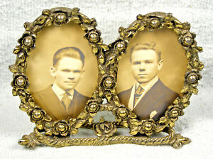 Vintage Gilted Metal Double Oval Molded Floral Picture Frame W Photos Of 2 Men