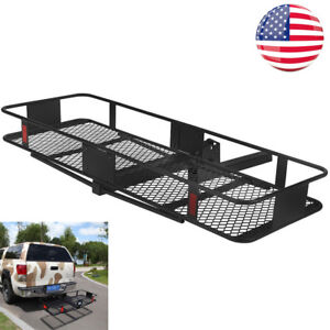 Black Steel Folding Cargo Carrier Grid Luggage Basket Hitch Mount For Car Truck