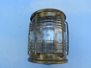 Triplex Vintage Ship Light Clear Glass Brass Humidor