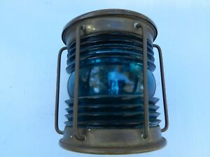 Vintage Ship Light Blue Green Glass Brass Humidor