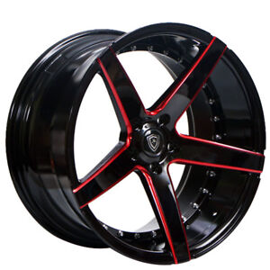 22 Staggered Marquee Wheels 3226 Gloss Black With Red Milled Rims Fs