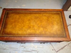 1950 S Antique Leather Top With Gold Leaf Embossed Coffee Table With Drawer