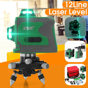 3d 12 Line Green Light Laser Level Auto Self leveling 360 Rotary Cross Measure