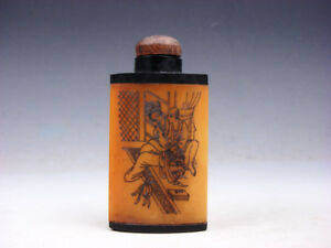 Bone Crafted Snuff Bottle Exotic Ancient Figurines Painted W Spoon 01301907
