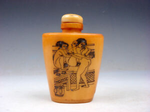 Bone Crafted Snuff Bottle Exotic Ancient Figurines Painted W Spoon 01301910