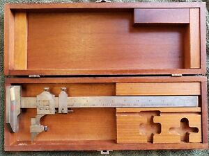 L S Starrett 454 Height Gage 12 With Case Vintage Machinist Tools