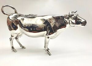 Magnificent Circa 1891 English Sterling Silver Ruby Eyes 11 Long Cow Creamer