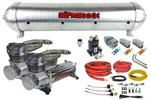 5 Gallon Spun Raw Aluminum Air Tank 580 Chrome Air Compressors Wiring Kit