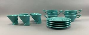Lot Of 4 Rare Salins Studio French Teal Pottery Cup Saucer Sets 7 Cups