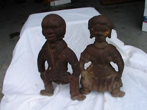 Antique Iron Figural Mammy And Cook Fire Place Andirons Black Americana 1800 S
