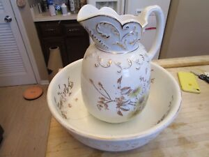 Vtg White Ironstone Pitcher And Bowl Floral From Toilet Set