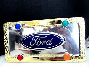 Ford Logo Novelty Mirror License Plate Tag For Front Of Car truck W Gold Frame