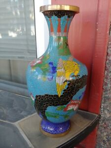 Antique Chinese Cloisonne Vase 9 5 Inches Tall Marked China