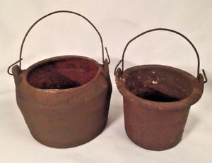 Antique Cast Iron Marietta Pa Double Melting Smelting Pot 2 Kettles No 000