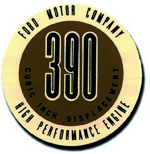 High Performance Valve Cover Decal 1961 1962 Ford 390